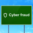 Stock Photo: Security concept: Cyber Fraud and Contoured Shield on road sign background