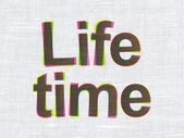 Time concept: Life Time on fabric texture background — Foto de Stock