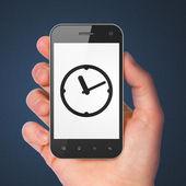 Time concept: Clock on smartphone — Stok fotoğraf