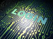 Conceito de segurança: placa de circuito com login — Fotografia Stock