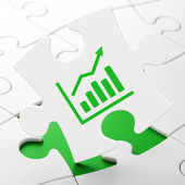 News concept: Growth Graph on puzzle background — Stock Photo