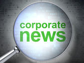 News concept: Corporate News with optical glass — Foto Stock