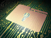 Finance concept: circuit board with Folder With Keyhole — ストック写真