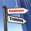 Stock Photo: Education concept: sign Employee Training on Building background