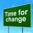 Stock Photo: Time concept: Time for Change on road sign background