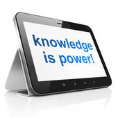 Education concept: Knowledge Is power! on tablet pc computer — Stock Photo