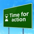 Timeline concept: Time for Action and Hourglass on road sign background — Stock Photo