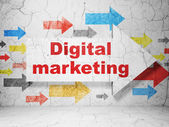Advertising concept: arrow whis Digital Marketing on grunge wall background — Stock Photo
