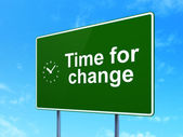 Timeline concept: Time for Change and Clock on road sign background — Stock Photo