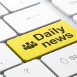 News concept: Business People and Daily News on computer keyboard background — Stock Photo