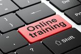 Vzdělávací koncepce: on-line školení na pozadí klávesnice počítače — Stock fotografie