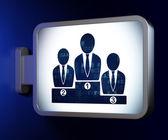 Finance concept: Business Team on billboard background — Zdjęcie stockowe
