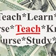 Education concept: Teach on Money background — Lizenzfreies Foto