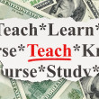 Education concept: Teach on Money background — Foto de Stock