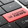 Foto Stock: News concept: Growth Graph and Corporate News on computer keyboard background