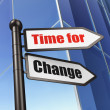 Foto Stock: Timeline concept: sign Time for Change on Building background