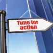 Timeline concept: sign Time for Action on Building background — Stock Photo