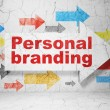 Marketing concept: arrow whis Personal Branding on grunge wall background — Foto Stock