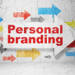 Marketing concept: arrow whis Personal Branding on grunge wall background — 图库照片