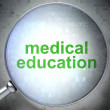 Education concept: Medical Education with optical glass — Stock Photo #34907409