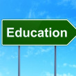 Education concept: Education on road sign background — Stock Photo