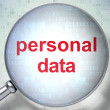 Information concept: Personal Data with optical glass — Stock Photo