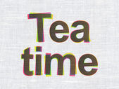 Timeline concept: Tea Time on fabric texture background — ストック写真
