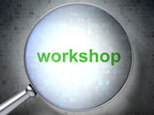 Education concept: Workshop with optical glass — Stock Photo