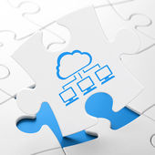 Cloud technology concept: Cloud Network on puzzle background — Stock Photo