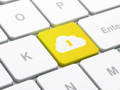 Cloud computing concept: Cloud With Keyhole on computer keyboard background — Stockfoto
