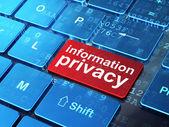 Concepto de seguridad: privacidad de la información de fondo del teclado de computadora — Foto de Stock