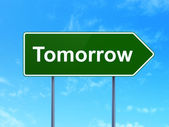 Timeline concept: Tomorrow on road sign background — Stock Photo