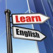 Stock Photo: Education concept: sign Learn English on Building background
