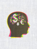 Advertising concept: Head With Finance Symbol on fabric texture — 图库照片
