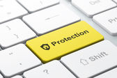 Privacy concept: Shield and Protection on keyboard background — Stock Photo