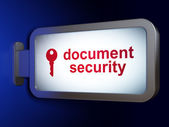 Safety concept: Document Security and Key on billboard — Stock fotografie