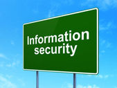 Safety concept: Information Security on road sign background — 图库照片