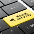 Stock Photo: Safety concept: Cctv Camerand Social Security on computer keyboard background