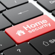 Stock Photo: Security concept: Home and Home Security on computer keyboard background