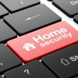Security concept: Home and Home Security on computer keyboard background — Stock Photo