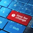 Timeline concept: Clock and Time for Change on computer keyboard background — Stock Photo #35169751