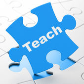 Education concept: Teach on puzzle background — Foto Stock