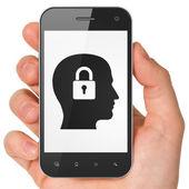 Data concept: Head With Padlock on smartphone — Stockfoto