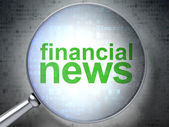 News concept: Financial News with optical glass — Stock Photo