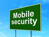 Security concept: Mobile Security on road sign background — Stock Photo