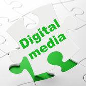 Marketing concept: Digital Media on puzzle background — Stockfoto