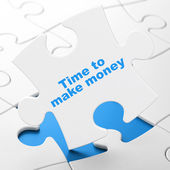 Time concept: Time to Make money on puzzle background — Stock Photo