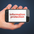 Security concept: Information Protection on smartphone — Stock Photo