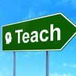 Education concept: Teach and Head With Light Bulb on road sign background — Stock fotografie