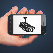 Safety concept: Cctv Camera on smartphone — Stock Photo